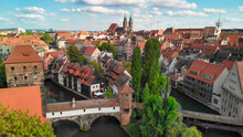 Aerial View Of Nuremberg Medieval Skyline From Drone, Germany
