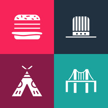 Set Pop Art Golden Gate Bridge, Indian Teepee Or Wigwam, Patriotic American Top Hat And Burger Icon. Vector