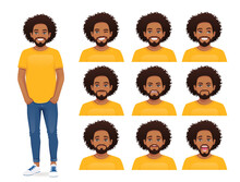 Young African Man With Different Facial Expressions Set Vector Illustration Isolated