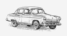 Retro Car Vector Illustration. Automotive Concept In Vintage Sketch Style