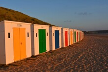 Row Of Beach Huts Against Clear Sky