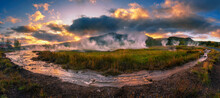 Panorama Of Hot Springs Located In The Haukadalur Geothermal Area In Iceland
