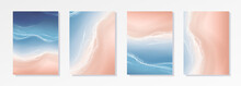 Colorful Summer Banners, Ocean Tropical Backgrounds, Sea, Surf Beach Paper Cut. Beautiful Top View Cards, Posters, Flyers, Party Invitations. Summertime Template Collection.