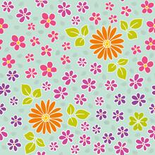 Vektor Zeichnung - Blumen Auf Mint - Frühling - Endlos Muster - Seamless Pattern