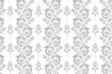 Wallpaper In The Style Of Baroque. Seamless Vector Background. White And Gray Floral Ornament. Graphic Pattern For Fabric, Wallpaper, Packaging. Ornate Damask Flower Ornament.