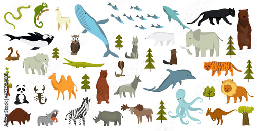 Fototapeta premium Collection of cute vector animals. Hand drawn animals which are common in America, Europe, Asia, Africa. Icon set isolated on a white background