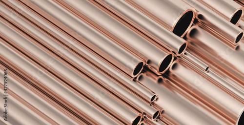 Fotografering A pile of copper pipes in stacks. 3d illustration