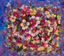 Abstract Colorful Oil Painting Pink Flowers On Branch, Chamomile, Field Flower In Sky. Yellow And Red Flowers On Blue Background. Spring, Summer Season Nature Floral Background.