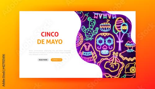 Fotografía Cinco de Mayo Neon Landing Page