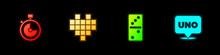 Set Stopwatch, Pixel Hearts For Game, Domino And Uno Card Icon. Vector