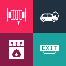 Set Pop Art Fire Exit, Matchbox And Matches, Burning Car And Hose Reel Icon. Vector