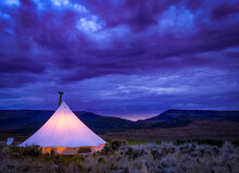 Sunset In The Desert Camping