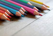 Selective Focused Colorful Pencils. Pencils Of Different Colors On A Wooden Table.