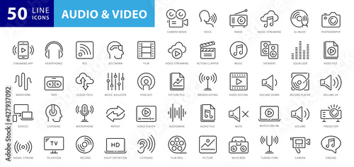 Obraz Audio Video Icons Pack. Thin line icons set. Flat icon collection set. Simple vector icons - fototapety do salonu