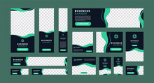 Set Of Creative Modern Business Ad Banner With A Place For Photos. Business Brochure Flyer Design Template. Vertical, Horizontal And Square Template. Illustration Vector