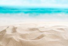 Empty Sandy Beach. Little Shells In The Sand. Splashing Waves On The Seashore. Summer.