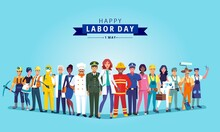 Happy Labour Day Celebration With Group Professionals.