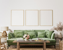 Home Interior With Poster Frame Mockup, Green Comfortable Sofa On White Wall With Wooden Furniture, 3d Render