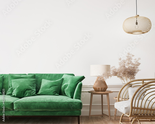Home interior mockup, green comfortable sofa on empty white wall with wooden furniture, 3d render