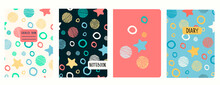 Cover Page Vector Templates With Stars, Planets, Celestial Bodies In Cartoon Style. Headers Isolated And Replaceable