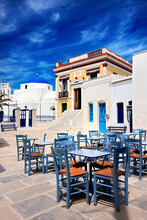 "The Main Square At Chora Village, The ""capital""  Of Serifos Island, Cyclades, Aegean Sea, Greece."