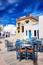 "The Main Square At Chora Village, The ""capital""  Of Serifos Island, Cyclades, Aegean Sea, Greece."