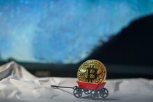 Bitcoin On A Red Root Car