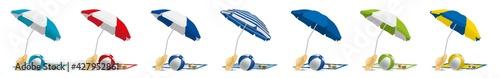 Photo Parasols serviettes ballons lunettes chapeaux plage