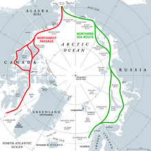 Arctic Ocean Sea Routes, Gray Political Map. Arctic Shipping Routes. Northwest Passage And Northern Sea Route. Maritime Paths, Used By Vessels To Navigate Through The Arctic. Illustration. Vector.