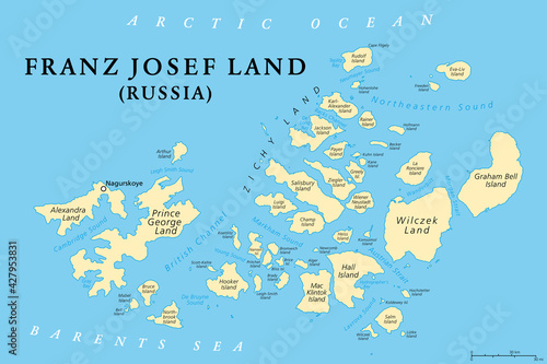 Fototapeta Franz Josef Land, political map