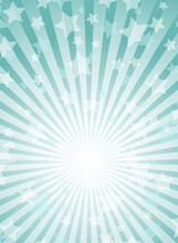 Sunlight Vertical Background. Powder Blue Color Burst Background With Shining Stars.