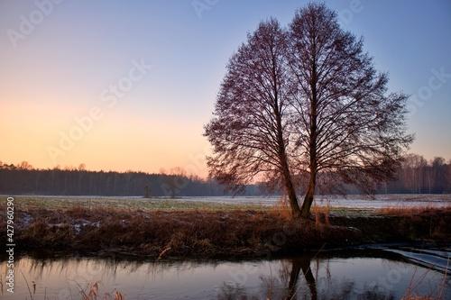 Zachód słońca zimą w dolinie rzeki Prosny - fototapety na wymiar