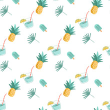Vector Seamless Pattern With Hand-drawn Palm Leaves, Refreshing Soda Drink, Ice Cream, Pineapple