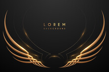 Abstract Gold Wings On Black Background