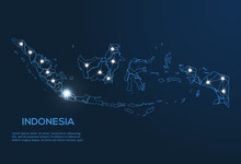 Indonesia Communication Network Map. Vector Low Poly Image Of A Global Map With Lights In The Form Of Cities. Map In The Form Of A Constellation, Mute And Stars