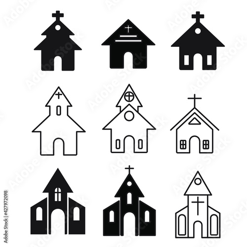 church building icons set. church building pack symbol vector elements for infographic web. Wall mural