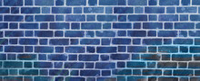 Blue Brick Wall Texture. Abstract Grunge Background.