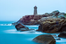 Famous Lighthouse Of Ploumanach At The Cote De Granite Rose, Brittany, France - The Lighthouse Of Men Ruz De Ploumanac'h (Brittany, France)