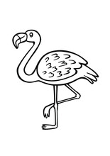 Pink Flamingo Bird Black Vector Cartoon Silhouette Outline Stencil Line Art Drawing Illustration Standing On One Leg.Plotter Cutting. Vinyl Wall Sticker Decal. Laser Cut. Coloring Pages For Kids. DIY.