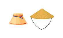 Various National Headdress With Conical Vietnamese Hat Vector Set