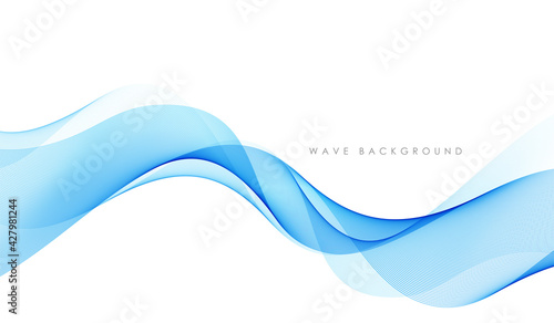 Cuadros en Lienzo Vector abstract colorful flowing wave lines isolated on white background