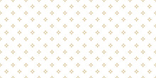 Golden Vector Seamless Pattern With Small Diamonds, Star Shapes, Rhombuses. Abstract Gold And White Geometric Texture. Simple Minimal Wide Repeat Background. Luxury Design For Decor, Wallpaper, Web