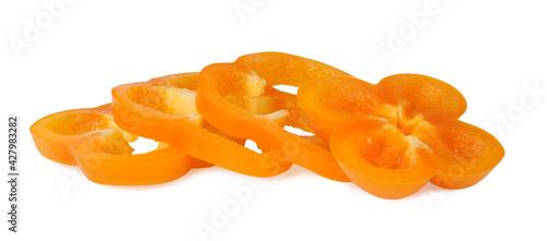 Leinwand Poster Bell pepper, orange, isolated on white background