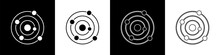Set Solar System Icon Isolated On Black And White Background. The Planets Revolve Around The Star. Vector