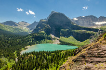 Beautiful Scenery Of The Grinnell Lake In Glacier National Park In Montana, USA
