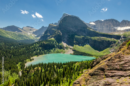 Fotografie, Tablou Beautiful scenery of the Grinnell Lake in Glacier National Park in Montana, USA