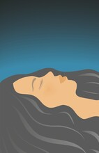 Woman With Big Black Hair Lying With Closed Eyes, Relaxing Or Sleeping. Vector Illustration. EPS10.