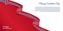 Norway Constitution Day Design With Flying Norway Ribbon And Red Background.