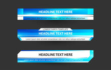 Set Collection Vector Of Broadcast News Lower Thirds Template Layout Design Banner For Bar Headline News Title, Sport Game In Television, Video And Media Channel