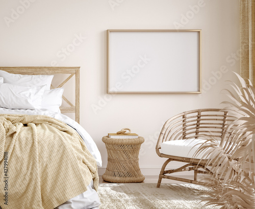 Mockup frame in farmhouse style bedroom interior background, 3d render